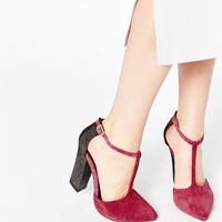 Ravel Block Heel Tbar Leather Heeled Shoes at asos.com