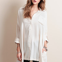 Mad Love Oversized Top In Cream