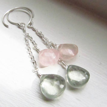 Rose quartz amethyst earrings spring pink green briolettes silver dangle extra long