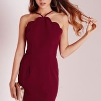 Missguided - Scallop Bodycon Dress Oxblood