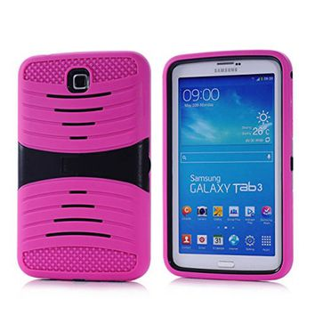 Samsung Galaxy Tab 3 7.0 / P3200 Hybrid Silicone Case Cover Stand Pink