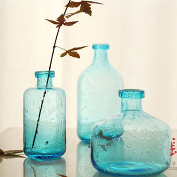 Handmade glass bubble glass vase handmade crafts art Fan zakka vase water plant plug set of 3