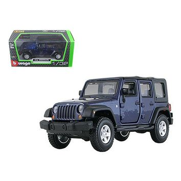 Jeep Wrangler Unlimited Rubicon 4 Doors Blue 1:32 Diecast Car Model Bburago