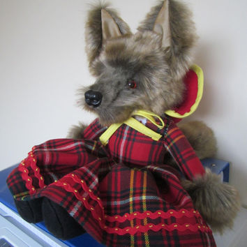 Browney Gold Plush Wolf Toy Red Hay Tartan Dress Safe Toy All Ages Coldham Cuddly Handmade by Me All Year Gift Boy Girl Special Occasions