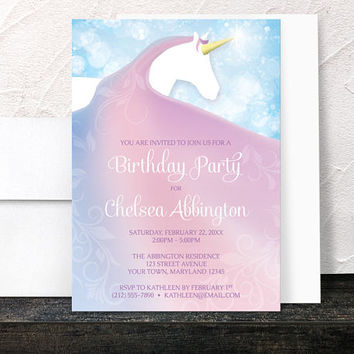 Unicorn Birthday Party Invitations Girl - Magical Fairy-tale - Pink Purple and Blue - Printed Invitations