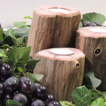Set of 3 Rustic Tea Light Candle Holders Recycled From The Vineyard. Reclaimed cedar grape posts. Wedding candle center piece