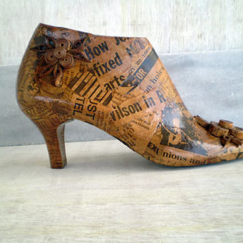 Wooden Shoe Form Fall Home Decor Vintage Newspaper Decoupage Decoration Collectors Gift