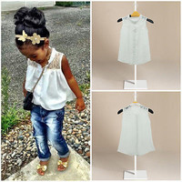 2015 Hot Baby Girls Kids White Summer Lace Chiffon Tops Shirt Blouse 2-7Y UK