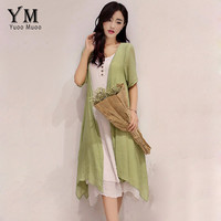 YuooMuoo 2016 Plus Size 2 Piece Set Women Summer Dress Casual Asymmetrical Korean Dress Women Clothing Long Vintage Linen Dress