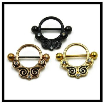 ac PEAPO2Q 150pcs Gold Titanium Stainless Steel Barbell Septum Ring Piercing Jewelry Shield  Free Shipping