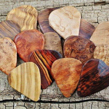Bulk Sale: Get every 5th one FREE - Starting at 15 Wooden Guitar Picks - (Choose Wood Types)