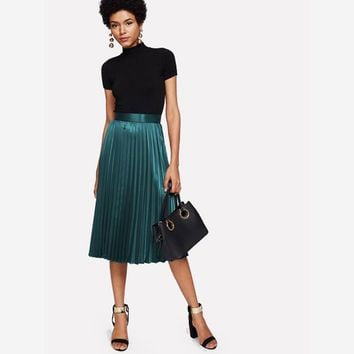Green Pleated Satin Skirt with Zipper