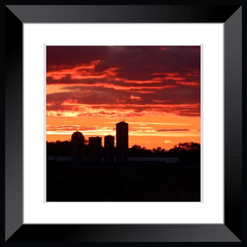 landscape farm photography orange black sunset photography barn photography silo photography large poster wall art home decor farm house