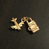 Luggage & Plane Charms | Gold Plated Brass Charm |Handmade Jewelry Making Supplies | Pendant Bracelet | Earrings Keychain (6*12mm) 1pc CHB41