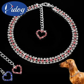 Rhinestone Dog Necklace Bling Jewelry Pet Cat Collar With Heart Shape Pendant For Small Puppy Dogs Cats Pink Blue