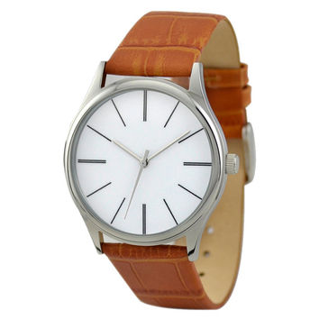 Minimalist  Watch with Long Stripe Light Brown Band - Free shipping
