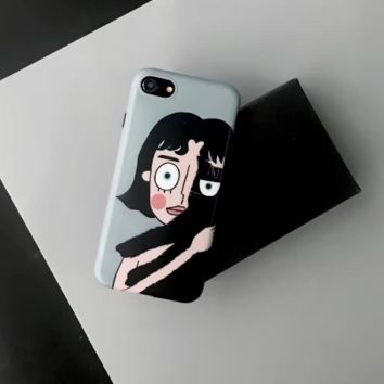 Fashion lovely girl with cute cat plastic Case Cover for Apple iPhone 7 7Plus 6 Plus 6 -05011