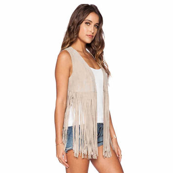 Cream Fringed Sleeveless Top