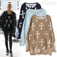 AnnaKastle Womens Punk Gothic Cross with Rips Knit Grunge Sweater Pullover Top