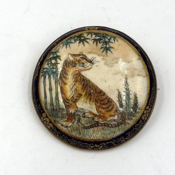 Antique Satsuma Brooch Pin Hand painted Meiji Period Xl