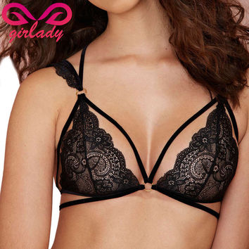 GIRLADY Women Lace Bralette Black Strappy Halter Brassiere Balconette Sexy Mesh Quarter Cup Lingerie Bra With Straps Quality