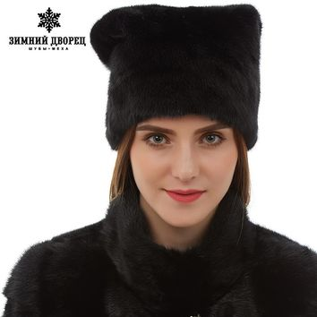 New arrival Cute mink fur hats real mink fur hat for winter women Fashion russian fur hat Warm winter Black fur hats