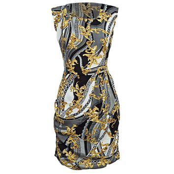 Vintage Round Collar Sleeveless Back Zipper Pleated Print Sheath Mini Dress for Women