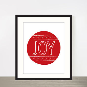 """Red JOY Christmas print typography poster bauble poster 8x10"""""""