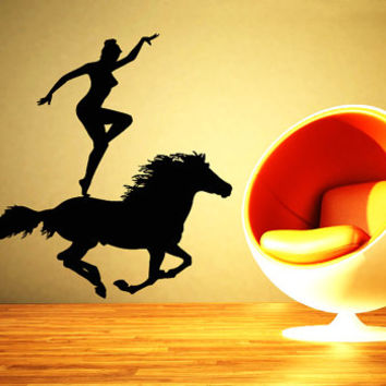 Wall Vinyl Decal Sticker Horse That Gallops a Woman Art Design Room Nice Picture Decor Hall Wall Chu1173