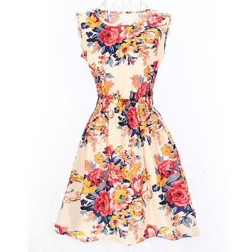 Summer Women Dress Floral Sleeveless Chiffon Stripe Elastic Waist Bohemian Beach Dresses = 5738865665