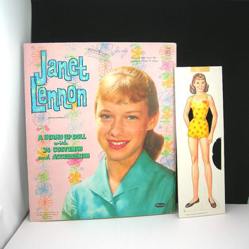 Paper Dolls, Vintage Janet Lennon Paper Dolls from 1961 Whitman Publishing Company Cardboard Folder Lennon Sisters Toy