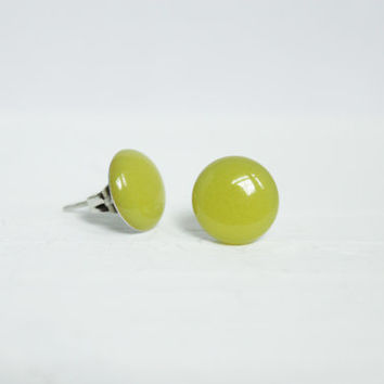 Lime Green Earrings, Stud Earrings, Resin Jewelry, Hypoallergenic Jewelry