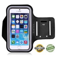 Tribe AB37 Premium Water Resistant Sports Armband with Key Holder for iPhone 6, 6S,5, 5S, 5C, All iPods, Galaxy S3/S4, Bundle with Screen Protector