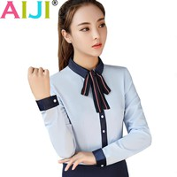 work blouse women long sleeve Plue size OL elegant solid bow tie turn-down collar Formal chiffon shirts ladies office wear tops