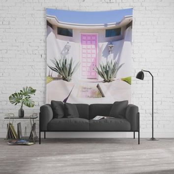 Palm Springs Tapestry, Pink Door Wall Tapestry, Dorm Decor, Dorm Wall Art, Mid Century Modern Wall Art, Boho Decor, Bohemian Home Decor
