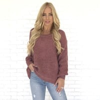 Give It A Twist Knit Sweater In Mauve Pink