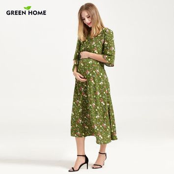 Floral Half Sleeved Maternity Nursing Dress