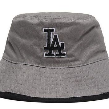 Los Angeles Dodgers Full Leather Bucket Hats Grey