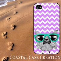 Purple Chevron Owl Apple iPhone 4 4G 4S 5G Hard Plastic or Rubber Cell Phone Case Cover Trendy Stylish Design