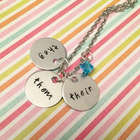 Pronoun Necklace - They, Them, Their Necklace - They, Them, Their Jewelry - Feminist Jewelry - Handstamped Jewelry