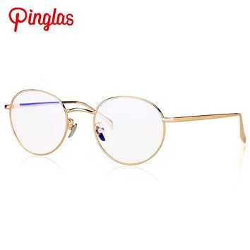 PINGLAS Reading Glasses Women Big Vision Oval Eyeglasses Clear Lens Sunglasses Metal Oval Eyewear