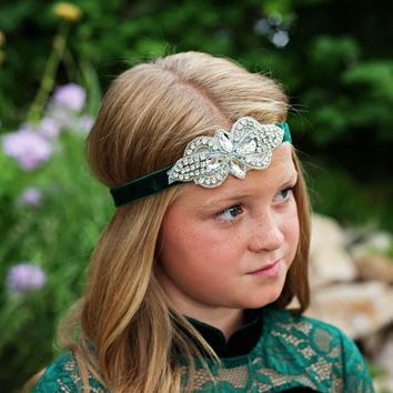 Dark Green Vivienne Velvet Elastic Crystal Jewel Headband