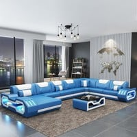 Blue Glamorous Wide Sectional  Sofa For Living Room