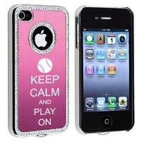 Apple iPhone 4 4S 4G Pink S409 Rhinestone Crystal Bling Aluminum Plated Hard Case Cover Keep Calm and Play On Baseball Softball