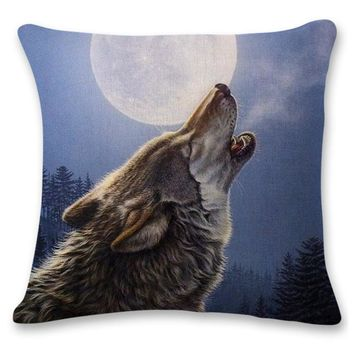 Howling Christmas Wolf Decorative Cushion Throw Pillow Cover