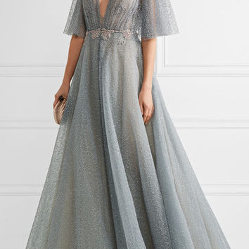 Marchesa - Embellished flocked glittered tulle gown