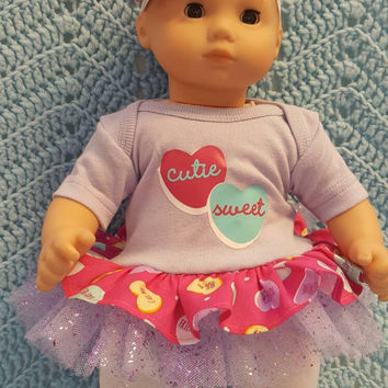 """Baby Doll Clothes to fit Bitty Baby """" Valentine Conversation Hearts"""" (15 inch) Will fit Bitty Baby® dress, leggings, socks and headband P9"""