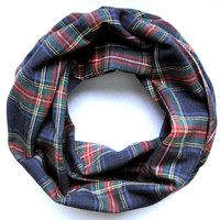 Plaid Cowl Scarf Cute Flannel Scarf Single Loop Scarf Blue Red Green Gold Scarf Poe-Poe's Just Enough Scarf Ready to Ship
