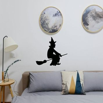 Halloween Witch Riding Broom 09 Vinyl Wall Decal - Removable (Indoor)