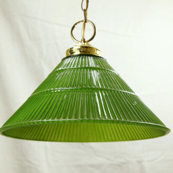 Vintage Green Glass Hanging Swag Light Chandelier, Working, Plug or Hardwired